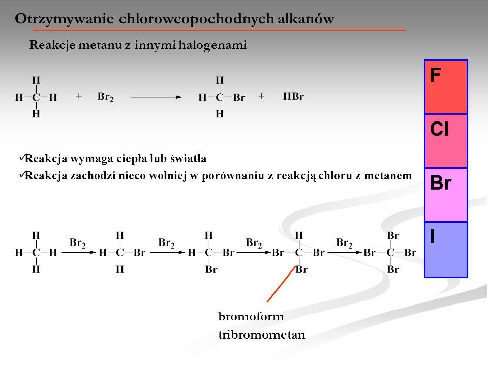 F Cl Br I Otrzymywanie chlorowcopochodnych alkanów