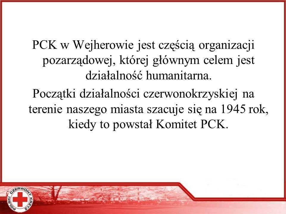 PCK w Wejherowie jest częścią organizacji pozarządowej, której głównym celem jest działalność humanitarna.