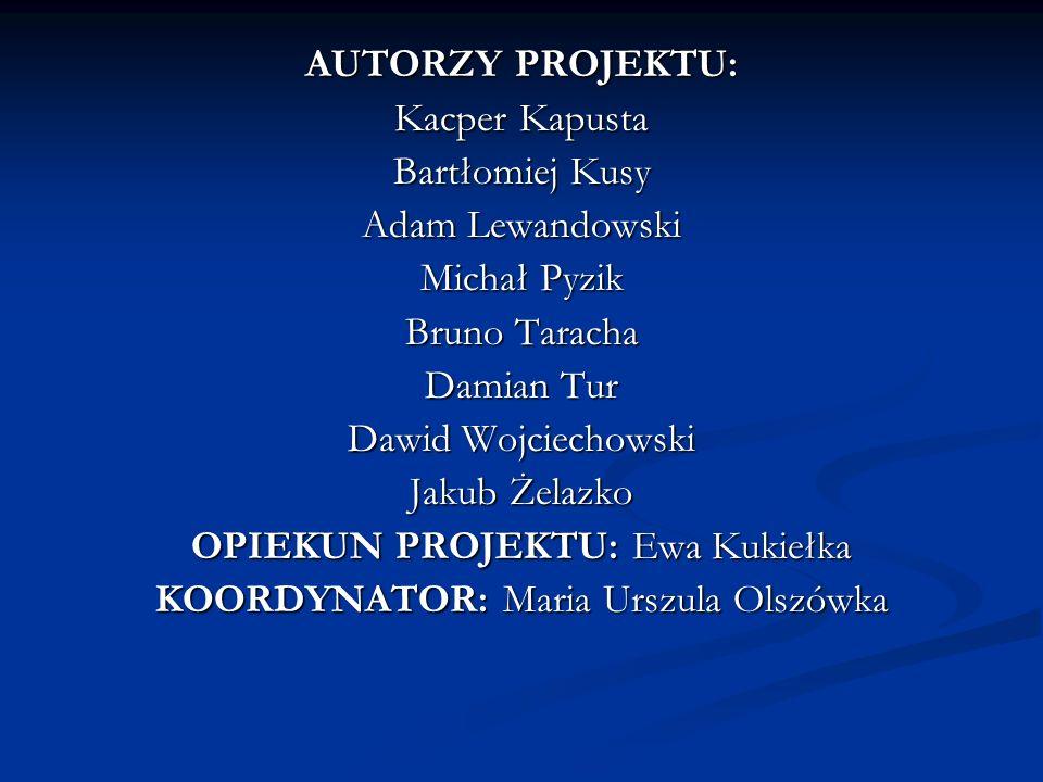 OPIEKUN PROJEKTU: Ewa Kukiełka KOORDYNATOR: Maria Urszula Olszówka