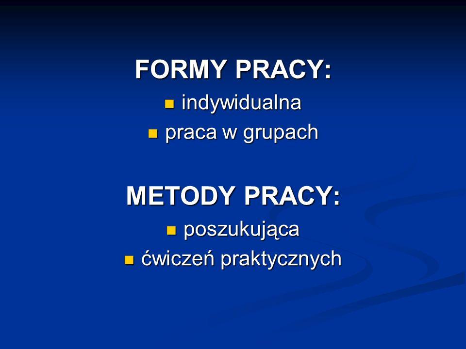 FORMY PRACY: METODY PRACY: