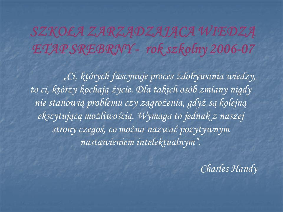 SZKOŁA ZARZĄDZAJĄCA WIEDZĄ ETAP SREBRNY - rok szkolny 2006-07
