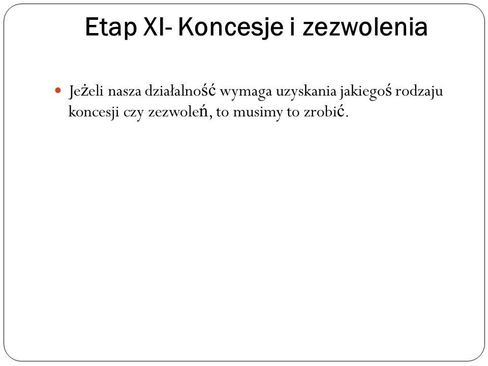 Etap XI- Koncesje i zezwolenia