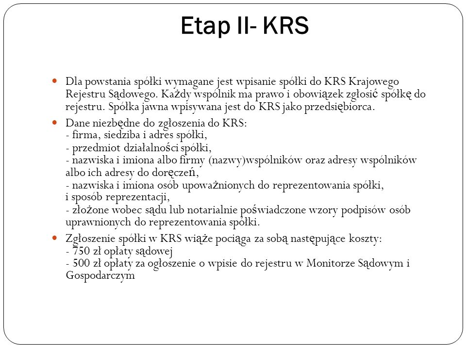 Etap II- KRS