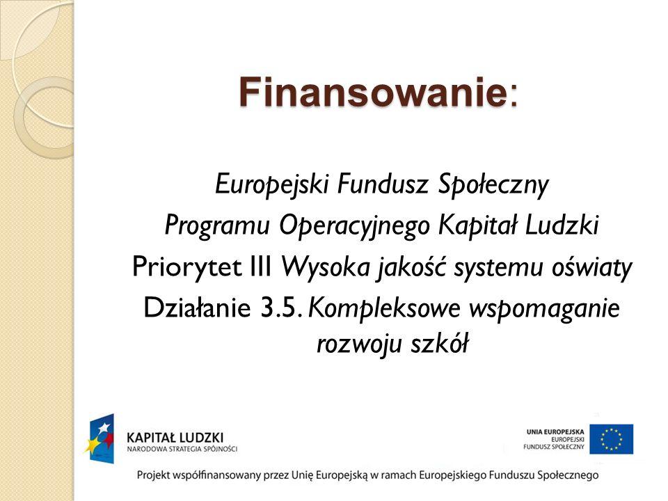 Finansowanie: Europejski Fundusz Społeczny