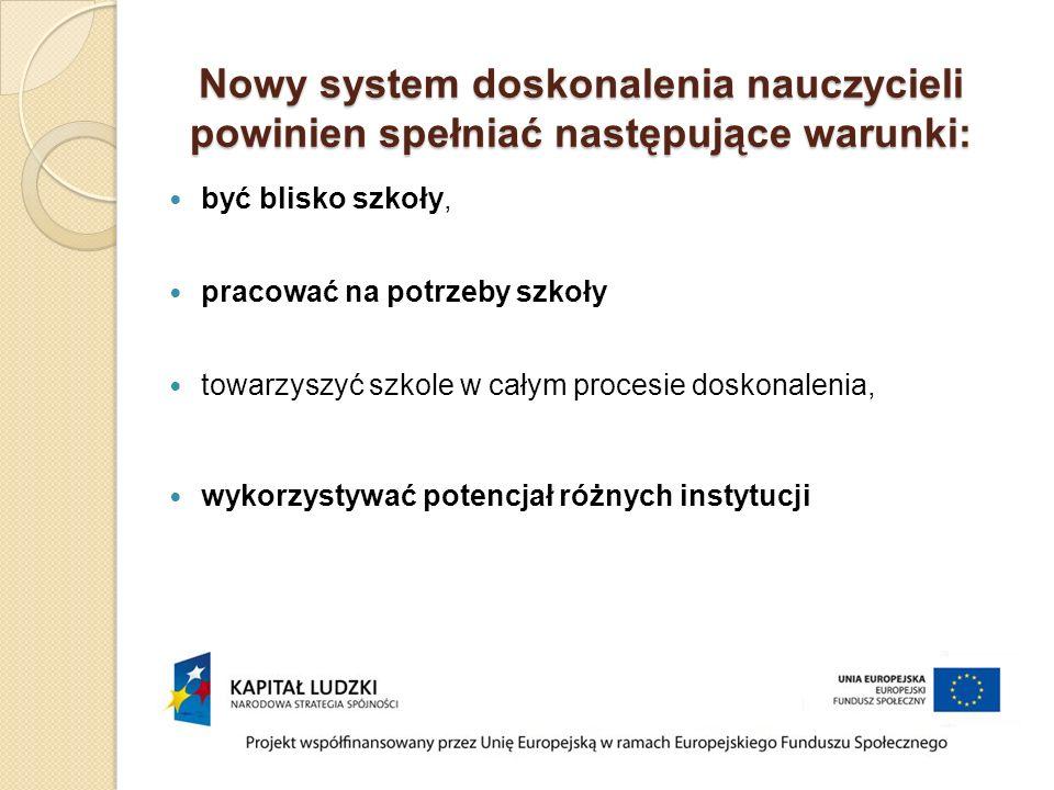 Nowy system doskonalenia nauczycieli powinien spełniać następujące warunki: