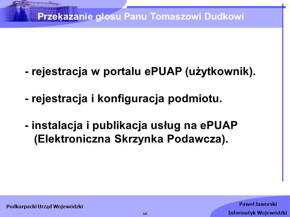 Przekazanie głosu Panu Tomaszowi Dudkowi