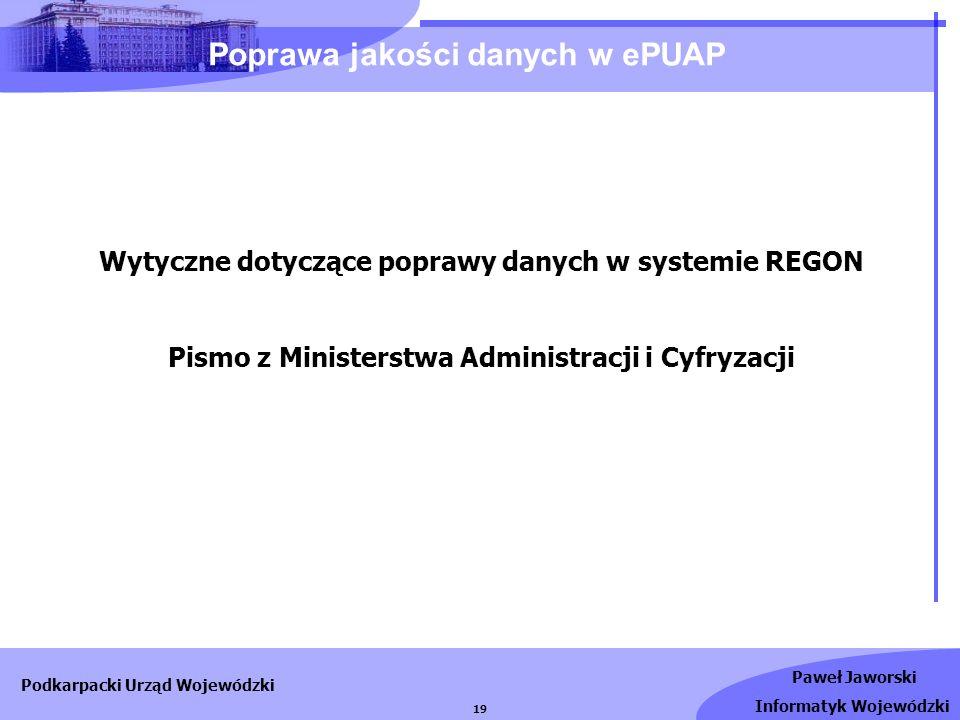 Poprawa jakości danych w ePUAP