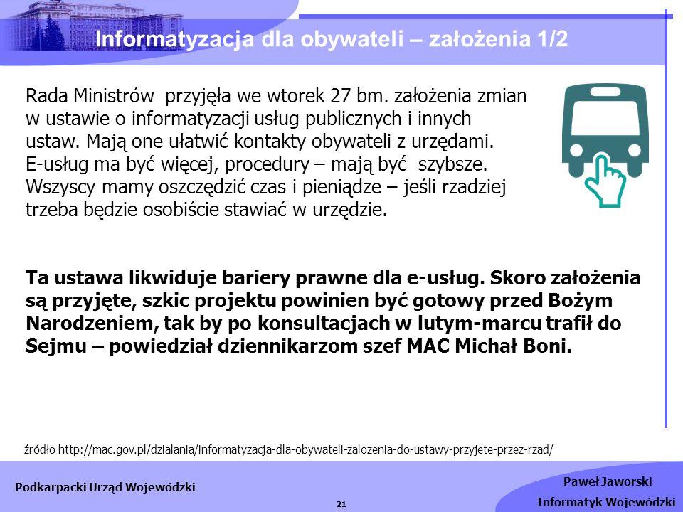 Informatyzacja dla obywateli – założenia 1/2