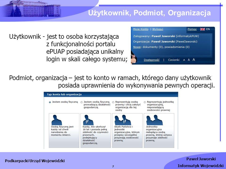 Użytkownik, Podmiot, Organizacja