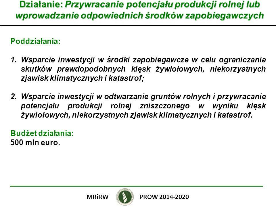 Działanie: Przywracanie potencjału produkcji rolnej lub wprowadzanie odpowiednich środków zapobiegawczych