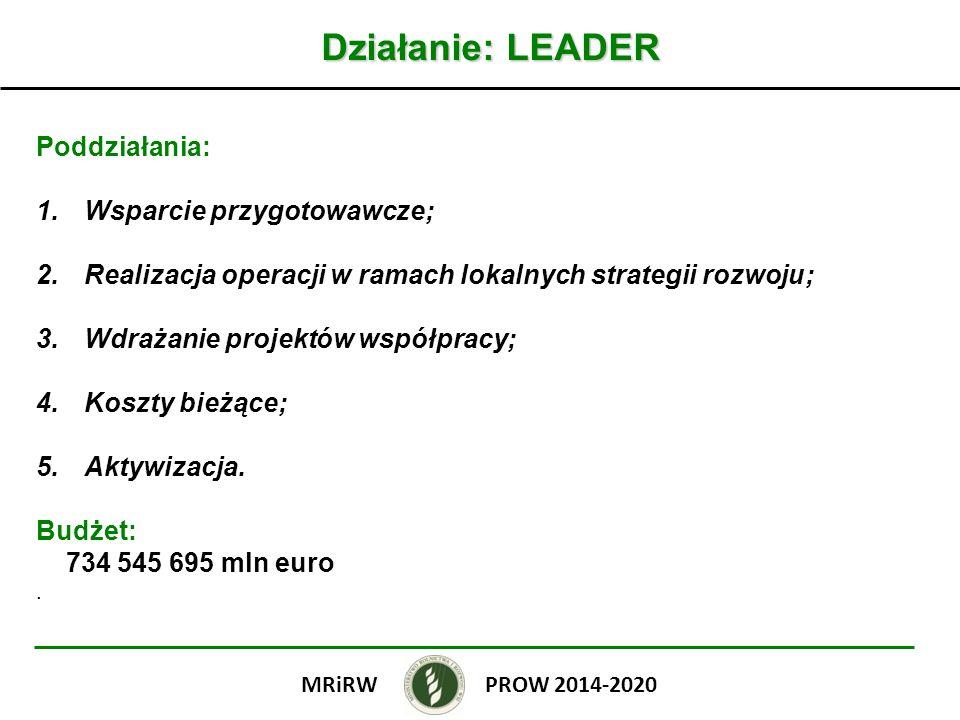 Działanie: LEADER Poddziałania: Wsparcie przygotowawcze;