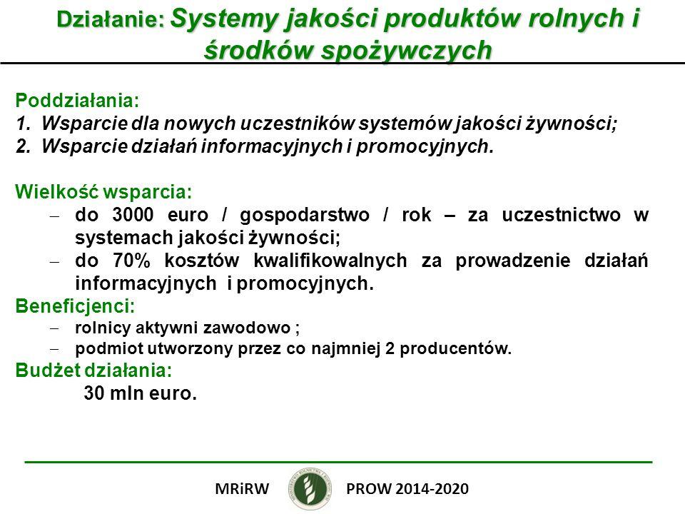 Działanie: Systemy jakości produktów rolnych i środków spożywczych