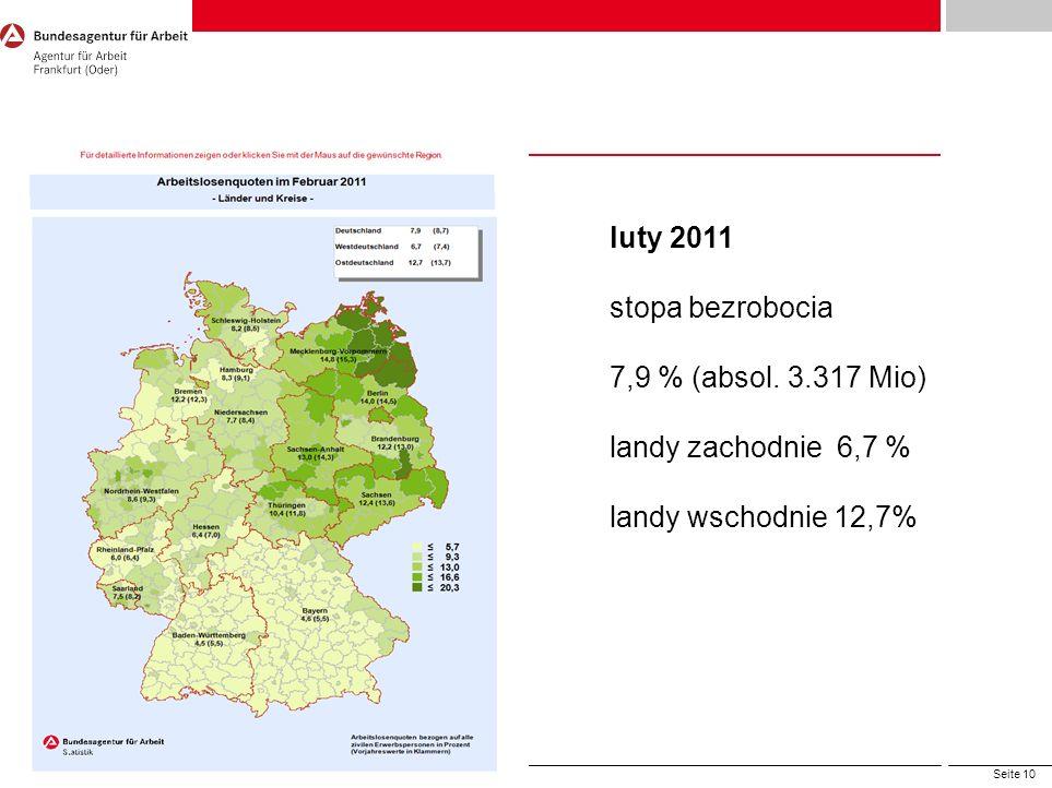 luty 2011 stopa bezrobocia 7,9 % (absol. 3.317 Mio)