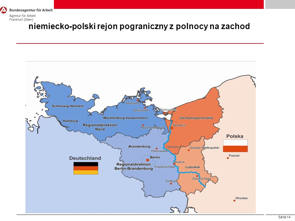niemiecko-polski rejon pograniczny z polnocy na zachod