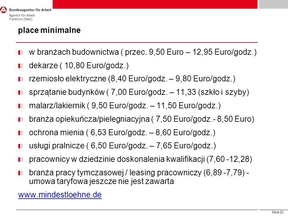 place minimalne w branżach budownictwa ( przec. 9,50 Euro – 12,95 Euro/godz.) dekarze ( 10,80 Euro/godz.)