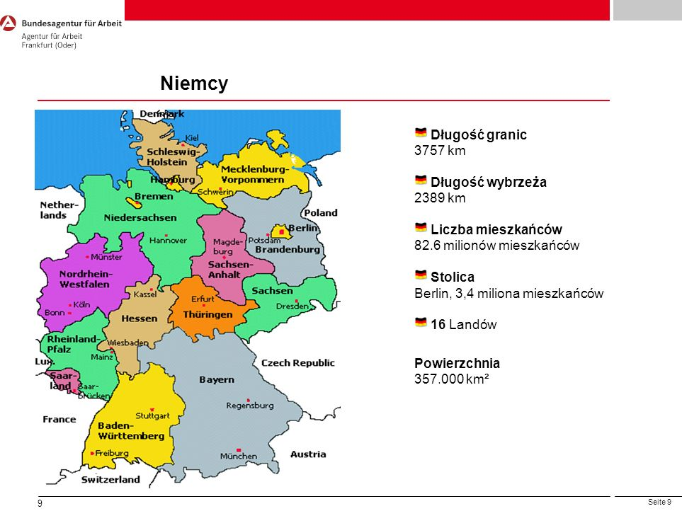 Niemcy Długość granic 3757 km Długość wybrzeża 2389 km