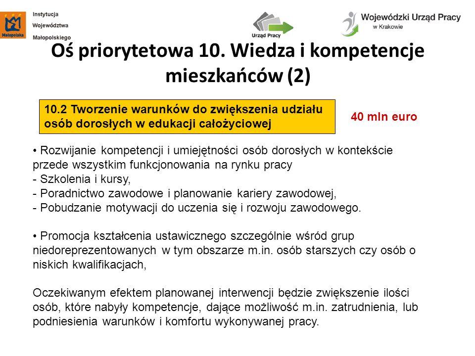 Oś priorytetowa 10. Wiedza i kompetencje mieszkańców (2)