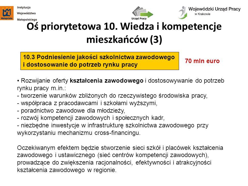 Oś priorytetowa 10. Wiedza i kompetencje mieszkańców (3)