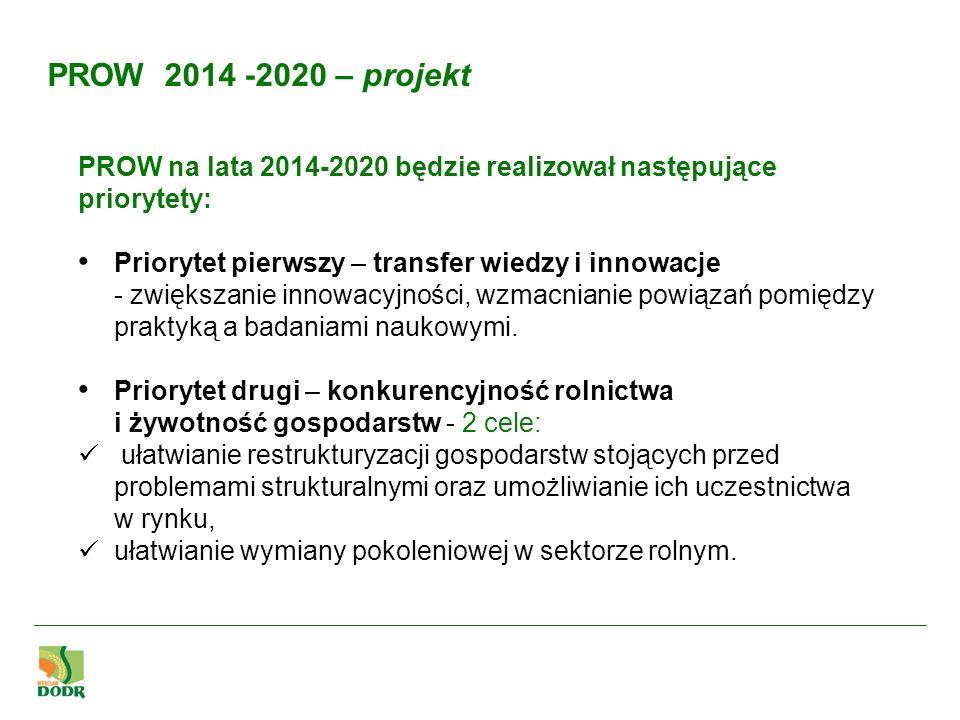 PROW 2014 -2020 – projekt PROW na lata 2014-2020 będzie realizował następujące priorytety: