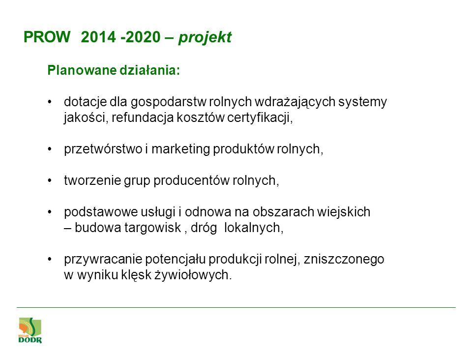 PROW 2014 -2020 – projekt Planowane działania: