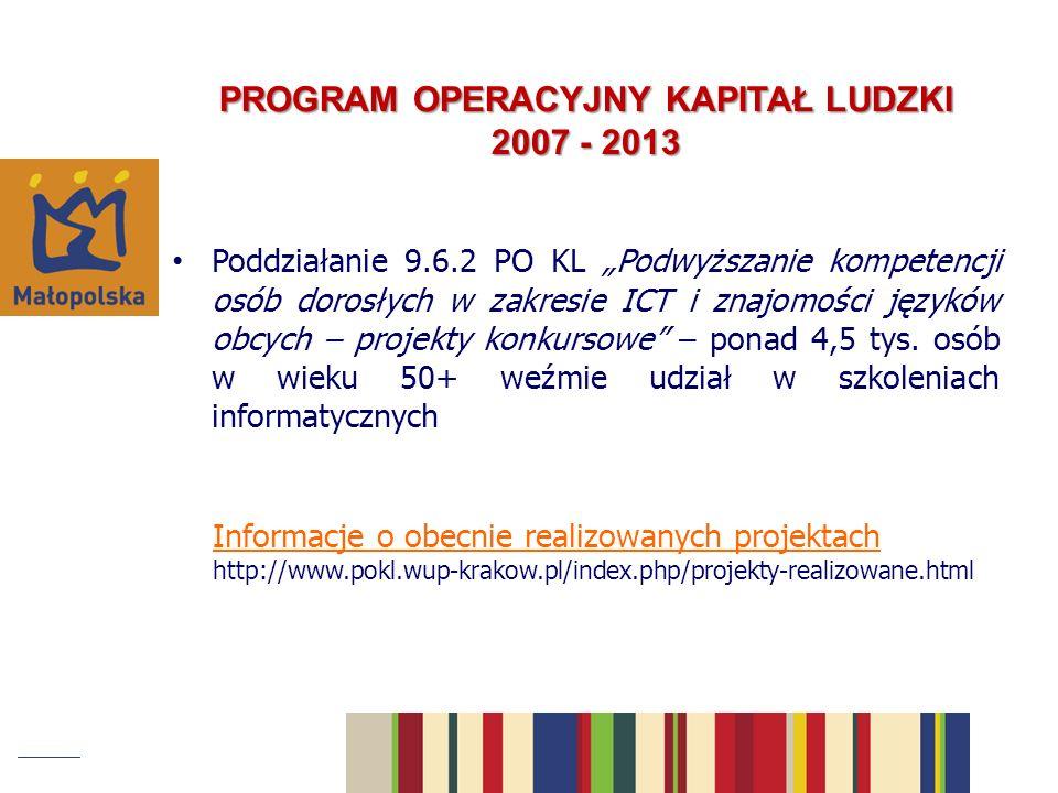 PROGRAM OPERACYJNY KAPITAŁ LUDZKI 2007 - 2013