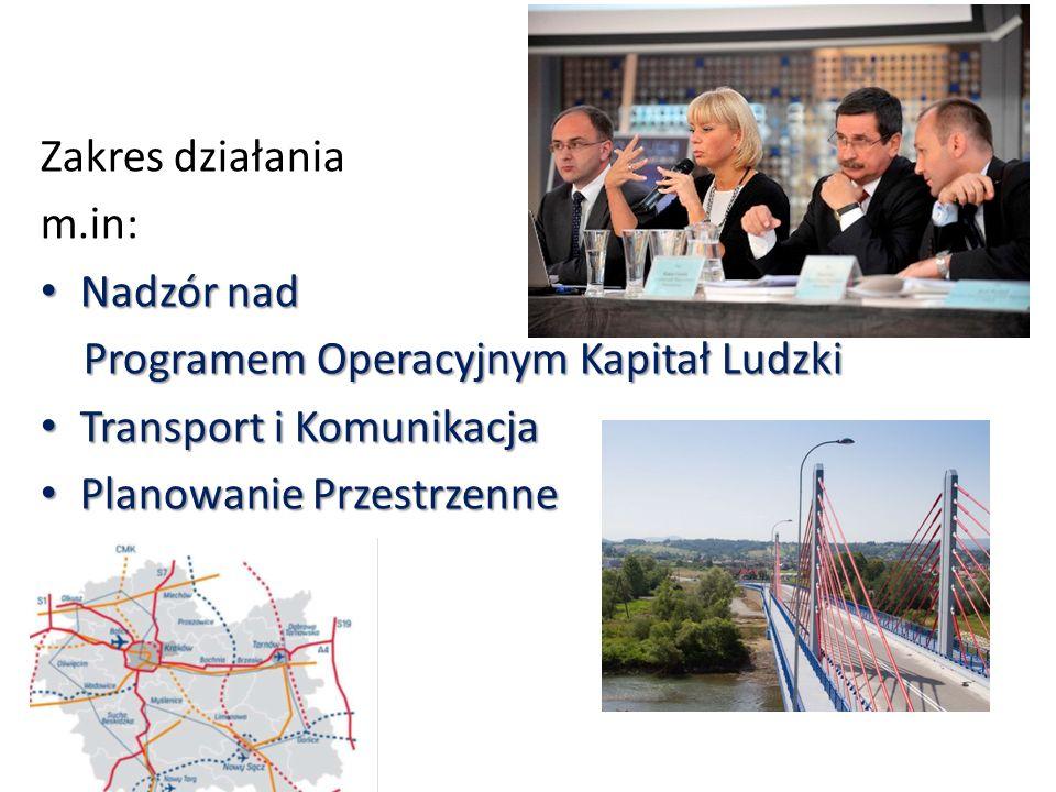 Zakres działania m.in: Nadzór nad. Programem Operacyjnym Kapitał Ludzki. Transport i Komunikacja.