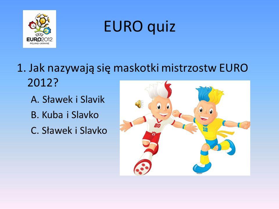 EURO quiz 1. Jak nazywają się maskotki mistrzostw EURO 2012