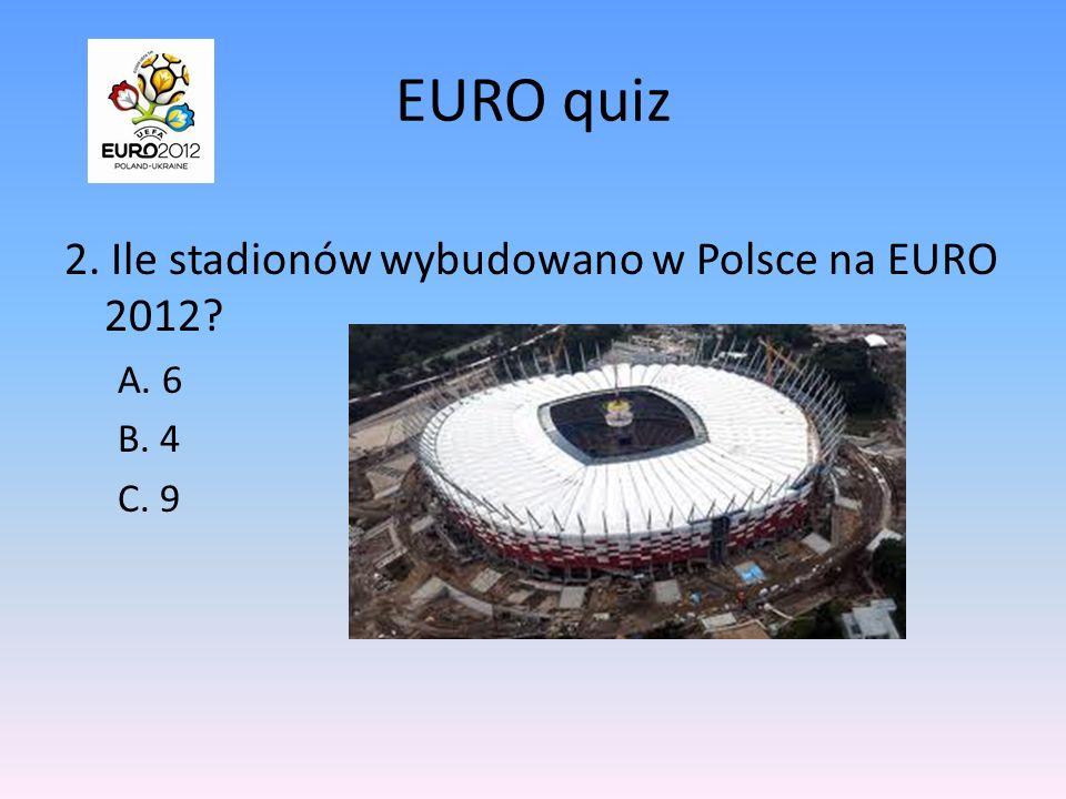 EURO quiz 2. Ile stadionów wybudowano w Polsce na EURO 2012 A. 6 B. 4
