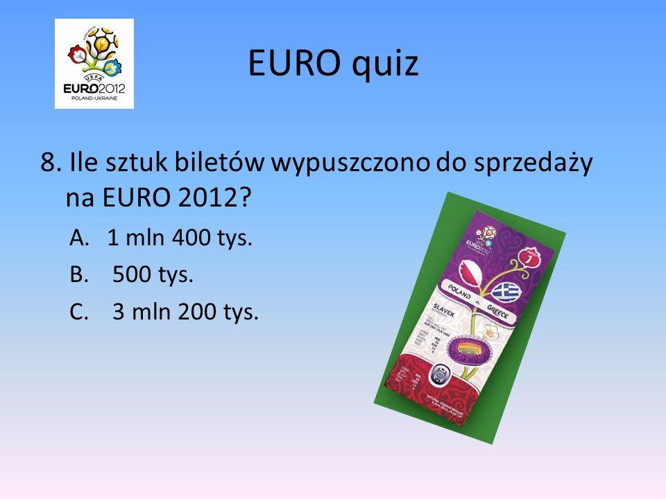 EURO quiz 8. Ile sztuk biletów wypuszczono do sprzedaży na EURO 2012