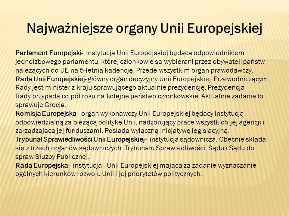 Najważniejsze organy Unii Europejskiej
