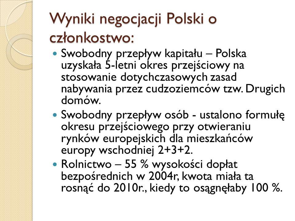 Wyniki negocjacji Polski o członkostwo: