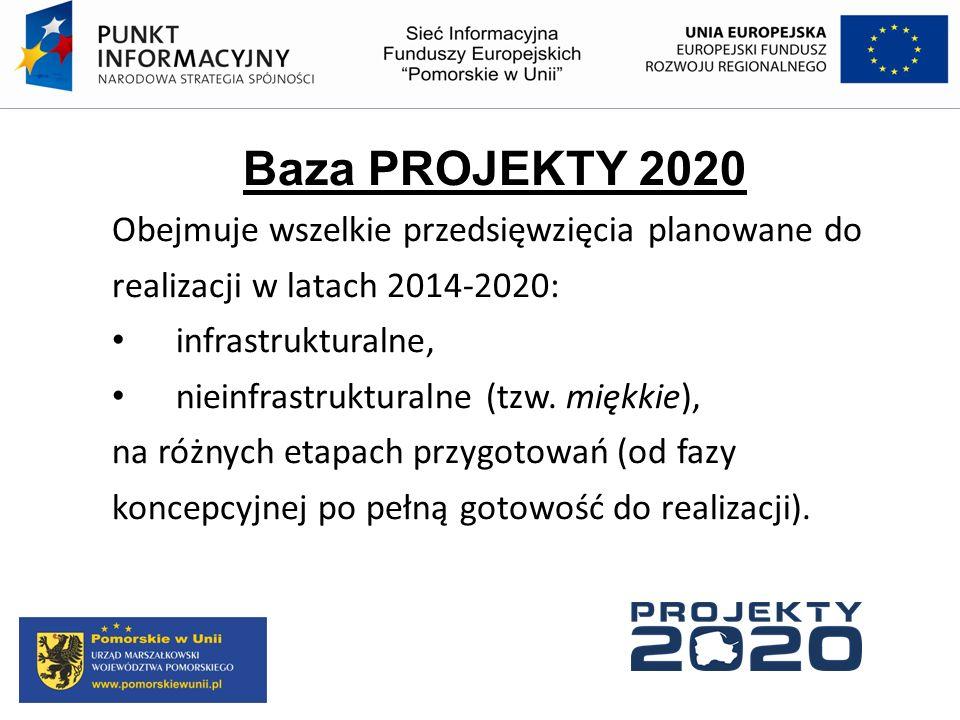 Baza PROJEKTY 2020 Obejmuje wszelkie przedsięwzięcia planowane do
