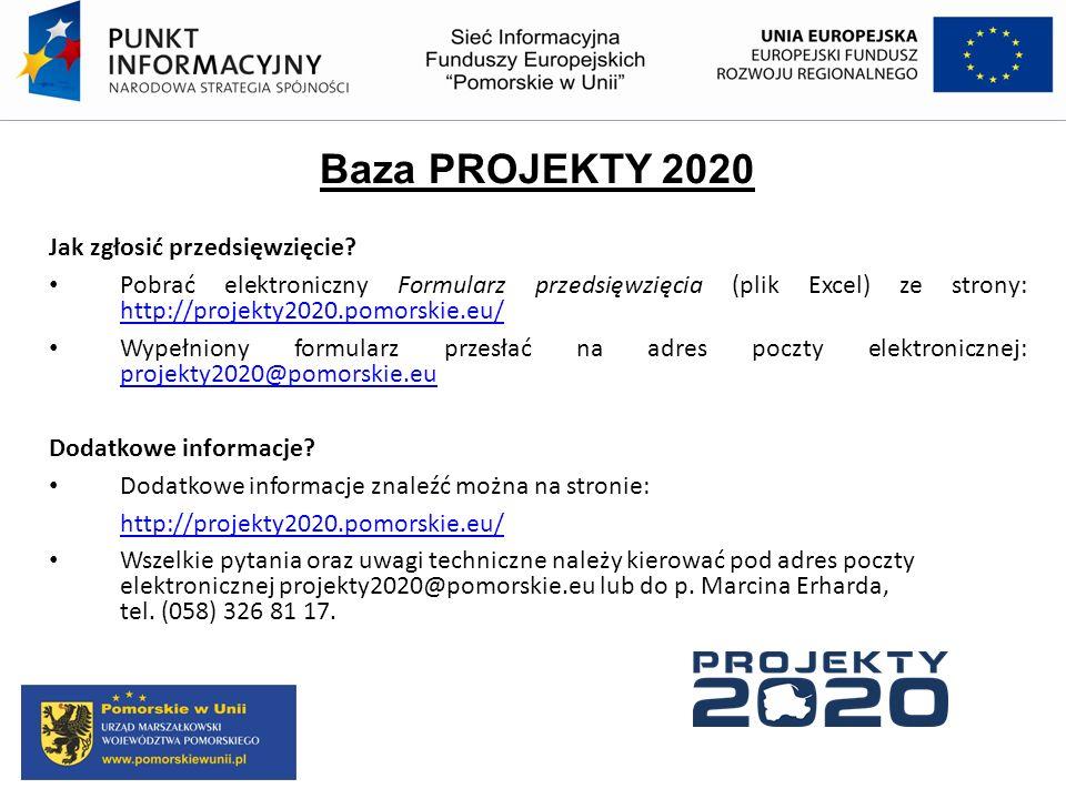 Baza PROJEKTY 2020 Jak zgłosić przedsięwzięcie