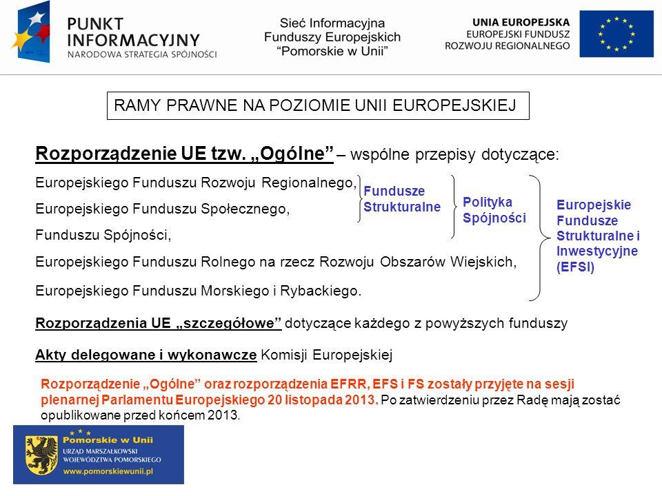 """Rozporządzenie UE tzw. """"Ogólne – wspólne przepisy dotyczące:"""
