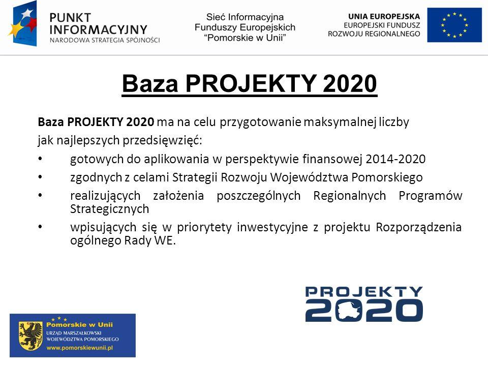 Baza PROJEKTY 2020 Baza PROJEKTY 2020 ma na celu przygotowanie maksymalnej liczby. jak najlepszych przedsięwzięć: