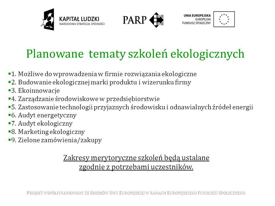 Planowane tematy szkoleń ekologicznych