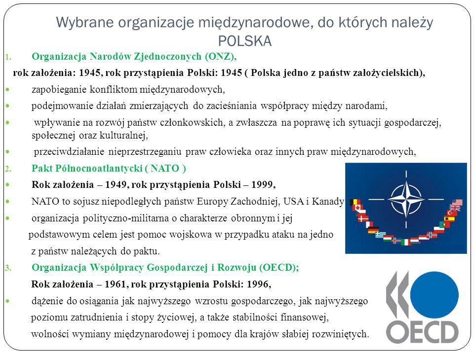 Wybrane organizacje międzynarodowe, do których należy POLSKA