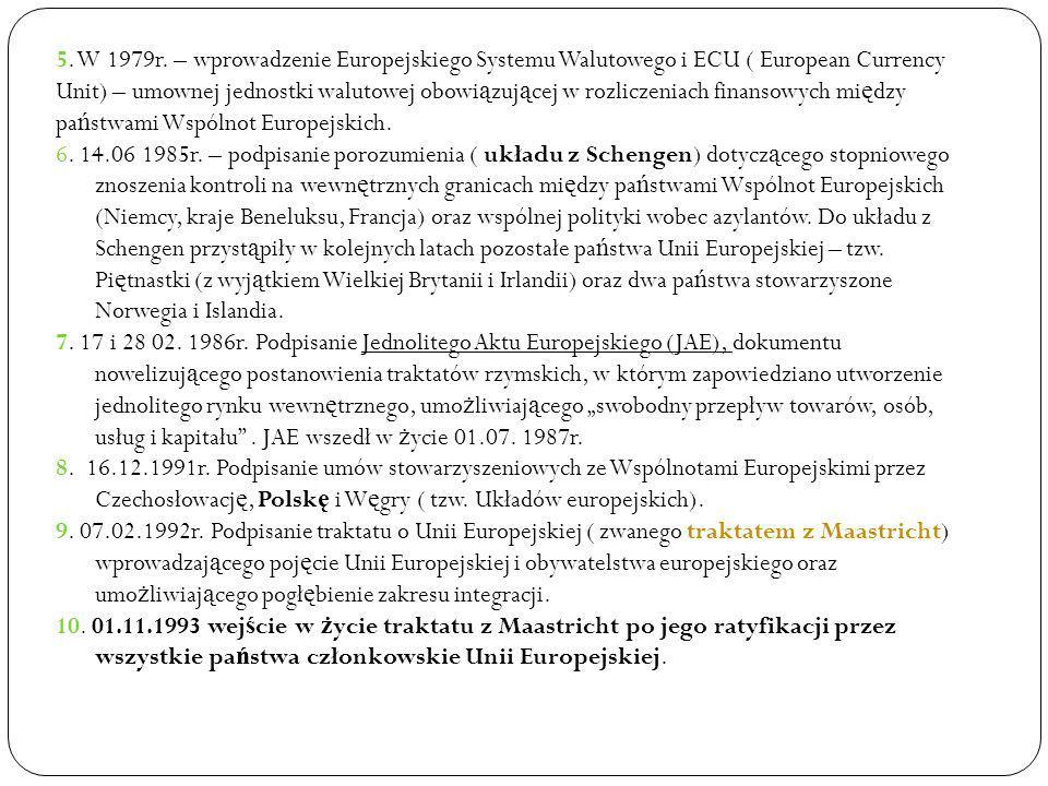 5. W 1979r. – wprowadzenie Europejskiego Systemu Walutowego i ECU ( European Currency Unit) – umownej jednostki walutowej obowiązującej w rozliczeniach finansowych między państwami Wspólnot Europejskich.