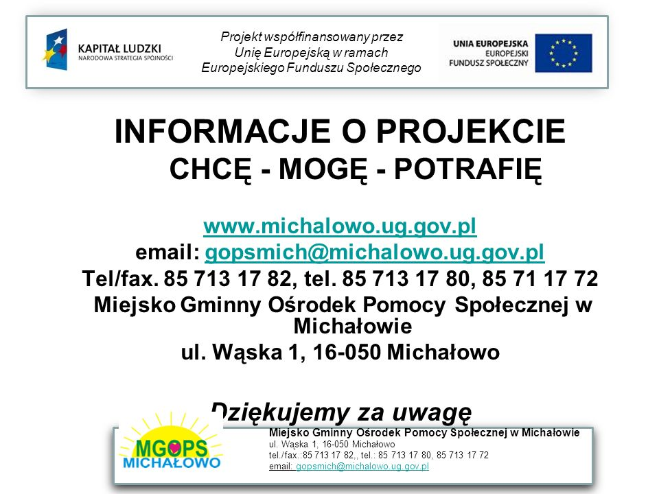 Miejsko Gminny Ośrodek Pomocy Społecznej w Michałowie