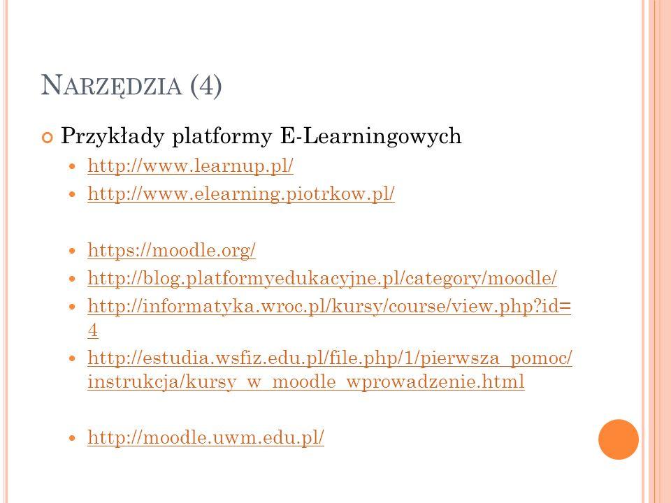 Narzędzia (4) Przykłady platformy E-Learningowych