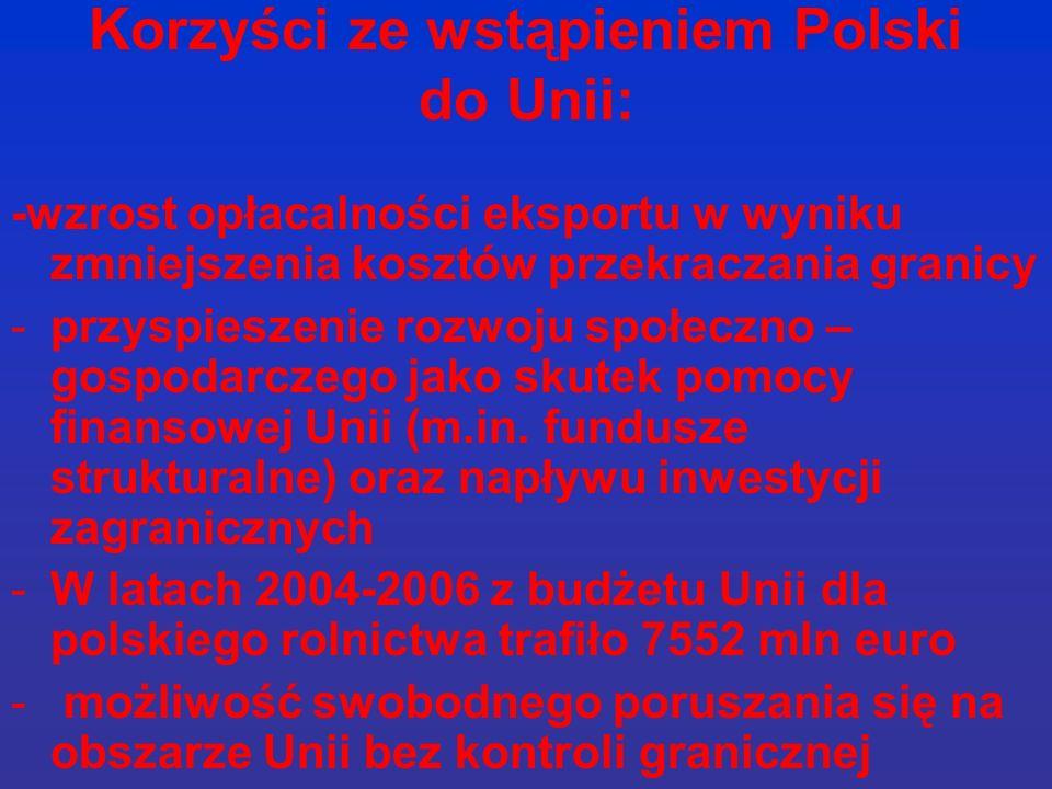 Korzyści ze wstąpieniem Polski do Unii: