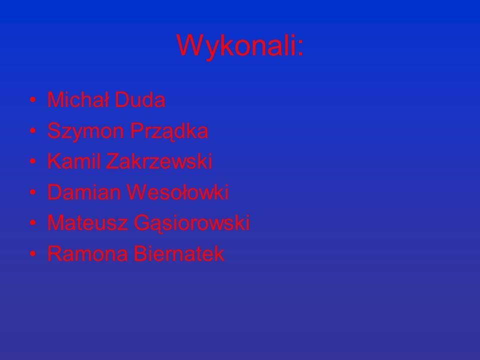 Wykonali: Michał Duda Szymon Prządka Kamil Zakrzewski Damian Wesołowki