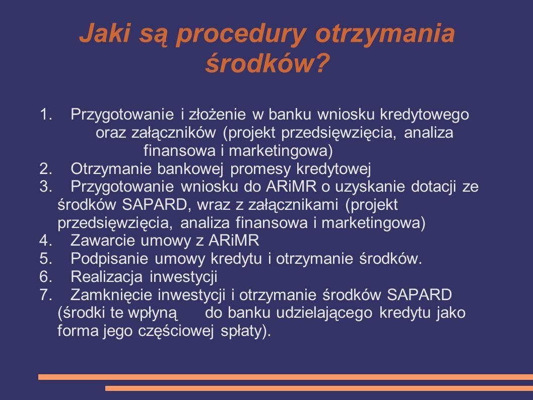 Jaki są procedury otrzymania środków
