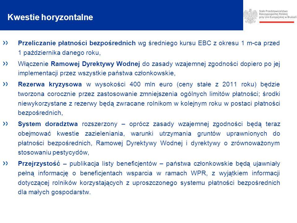 Kwestie horyzontalne Przeliczanie płatności bezpośrednich wg średniego kursu EBC z okresu 1 m-ca przed 1 października danego roku,