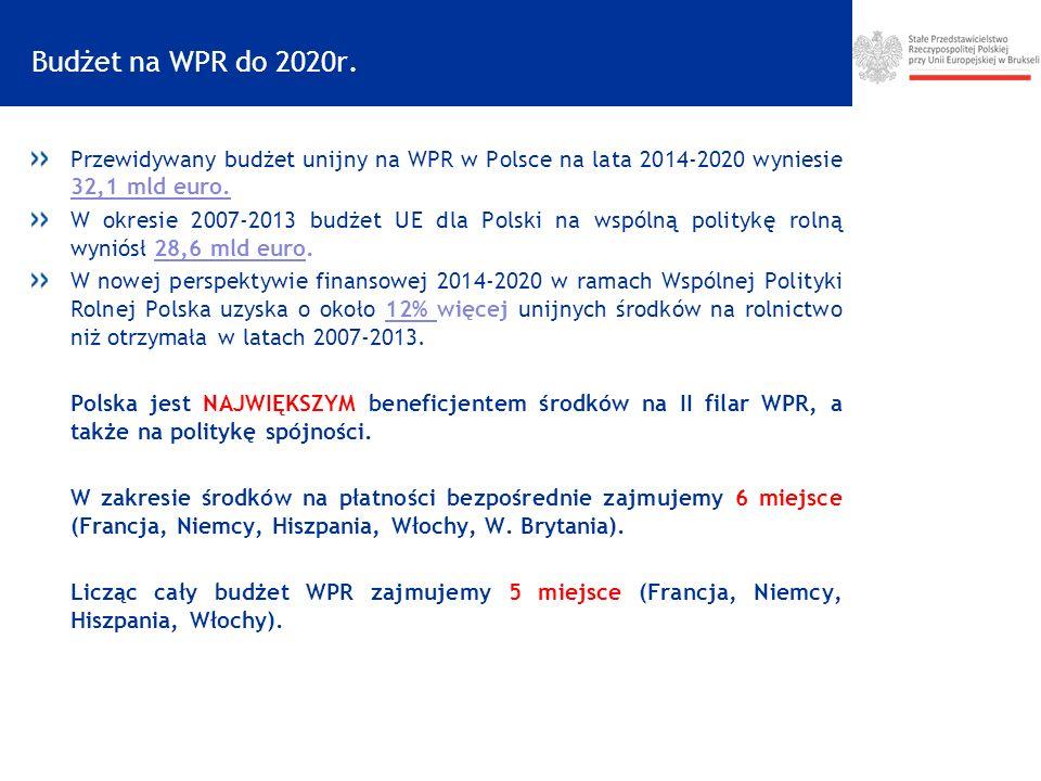 Budżet na WPR do 2020r. Przewidywany budżet unijny na WPR w Polsce na lata 2014-2020 wyniesie 32,1 mld euro.
