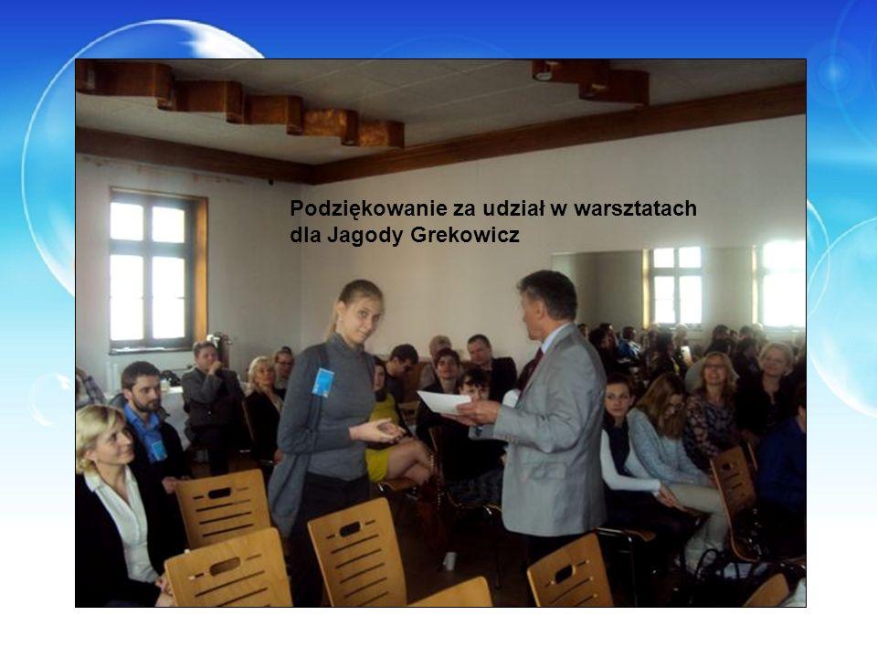 Podziękowanie za udział w warsztatach dla Jagody Grekowicz