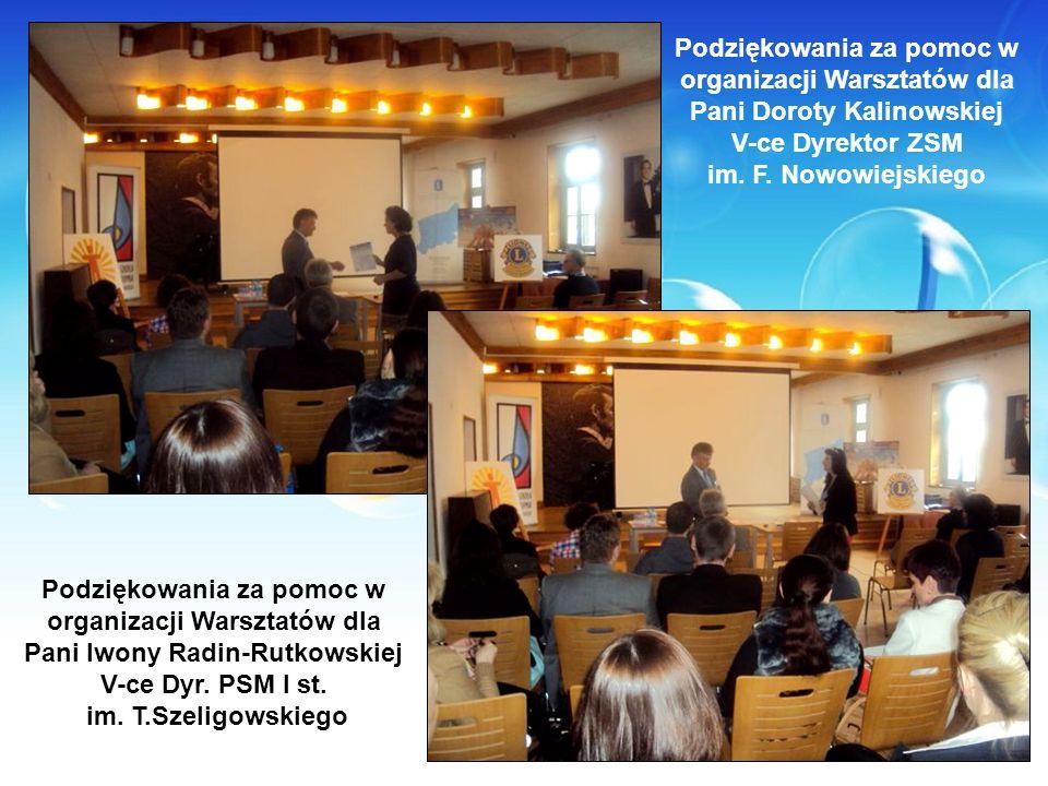 Podziękowania za pomoc w organizacji Warsztatów dla Pani Doroty Kalinowskiej