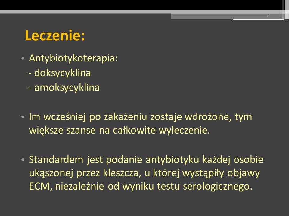 Leczenie: Antybiotykoterapia: - doksycyklina - amoksycyklina