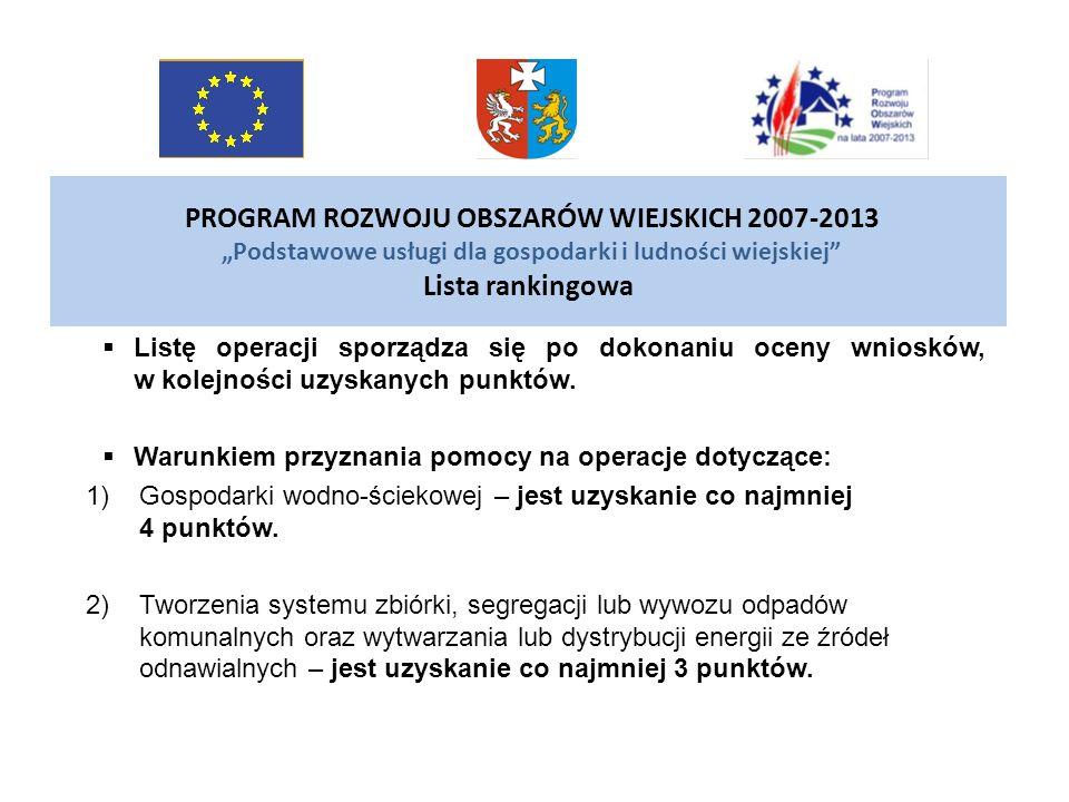 """PROGRAM ROZWOJU OBSZARÓW WIEJSKICH 2007-2013 """"Podstawowe usługi dla gospodarki i ludności wiejskiej Lista rankingowa"""