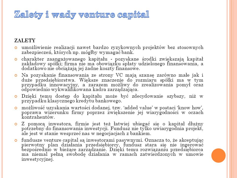 Zalety i wady venture capital